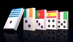 European crisis 3d domino Stock Illustration