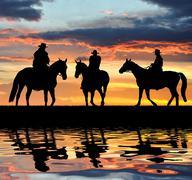 Silhouette cowboys  Kuvituskuvat