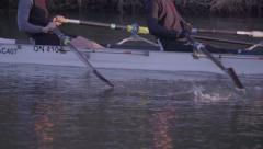 Rowers Training Close Up on Oars - Slow Motion - stock footage