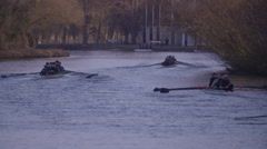 Rowing Boats on River Thames Slow Motion - stock footage