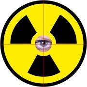 nuclear sign with eye - stock illustration