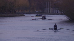 Rowing Boats on River Thames Oxford - Slow Motion - stock footage