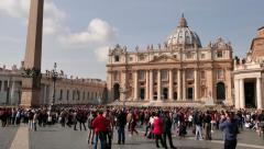 Saint Peter Basilica Square Vatican Rome Roma Italy Italia Tourists Stock Footage