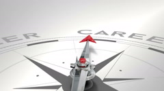 Compass pointing to career Stock Footage