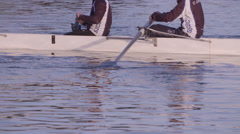Rowing Boat with Crew Training - Slow Motion - stock footage