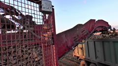 Close view of sugar beet being transferred from moving harvester to trailer. Stock Footage