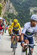 Duel at Alpe D'Huez - stock photo