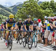 The Peloton on Alpe D'Huez - stock photo