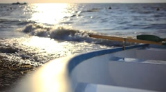 Boat over land At seaside at sunset. Changes focus on blurred. HD. 1920x1080 Stock Footage