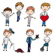 Happy kids. little boys Stock Illustration