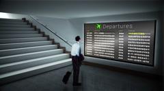 Businessman looking at departures board Stock Footage