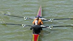 4K Rowers on Lake Stock Footage