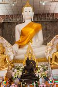The golden Buddha statue in Thai temple, Ayutthaya Province Thailand Stock Photos