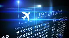 Departures board for south american cities Stock Footage