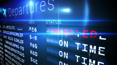 Departures board of cancelled flights - stock footage