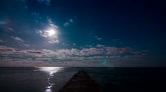 Night sea time lapse Stock Footage