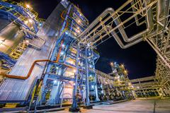 Oil Refinery At Night Stock Photos