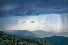 thunder-storm and rain in mountains - stock photo