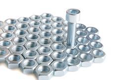 Metal shine nuts Stock Photos