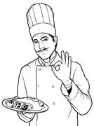 Cook Gesture Delicious Food - stock illustration