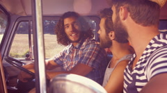 In high quality format hipster friends on road trip Stock Footage