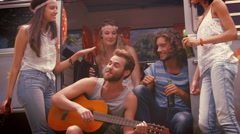 Stock Video Footage of In high quality format hipster friends in camper van at festival