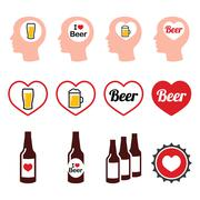 Man loving beer vector icons set - stock illustration