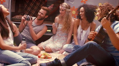 In high quality format hipster friends by camper van at festival Stock Footage