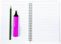 felt-tip and pencil  - stock photo