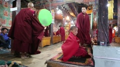 Monks at Prayer in Buddhist Monastery.mp4 Stock Footage