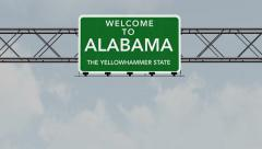 4K Passing Alabama USA State Border Welcome Road Sign with Matte 1 neutral Stock Footage