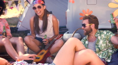 Stock Video Footage of In high quality format hipsters having fun in their campsite