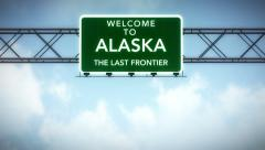 4K Passing Alaska USA State Border Welcome Road Sign with Matte 2 stylized - stock footage