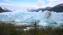 View of Perito Moreno glacier from the footbridge - stock footage