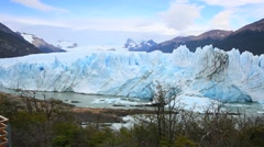 View of Perito Moreno glacier from the footbridge Stock Footage