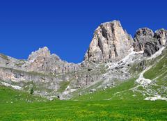 Dolomite peaks, Rosengarten - stock photo