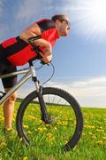 Biker with the mountain bike Stock Photos