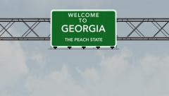 4K Passing Georgia USA State Border Welcome Road Sign with Matte 1 neutral - stock footage