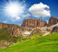 Dolomite peaks,Sella Stock Photos