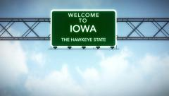 4K Passing Iowa USA State Border Welcome Road Sign with Matte 2 stylized - stock footage