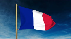 France flag slider style. Waving in the win with cloud background Stock Footage