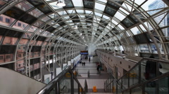 4K UltraHD The Skywalk in Toronto connects Union Station and the CN Tower Stock Footage