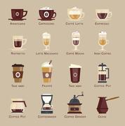 Coffee vector icon set menu Stock Illustration