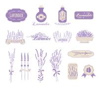 Vintage lavender background, aromatherapy and spa packaging - stock illustration