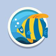 Fish, diving, underwater world. Travel, flat style vector Piirros