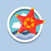 Starfish. Travel, flat style vector - stock illustration