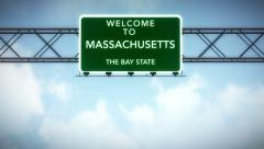 4K Passing Massachusetts USA State Border Welcome Road Sign with Matte 2 styl Stock Footage