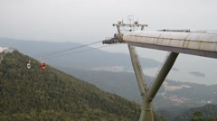 Gondolas Arriving At Langkawi Cable Car Top Station Stock Footage