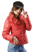 red anorak black cap - stock photo