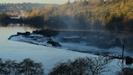 Stock Video Footage of Willamette Falls Early Morning With The Sun Shining On The Trees